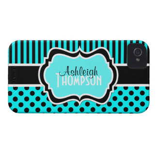 Personalized Aqua, Black, White Striped Polka Dots iPhone 4 Covers