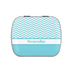 Personalized Aqua Blue and White Chevrons Jelly Belly Candy Tin at Zazzle