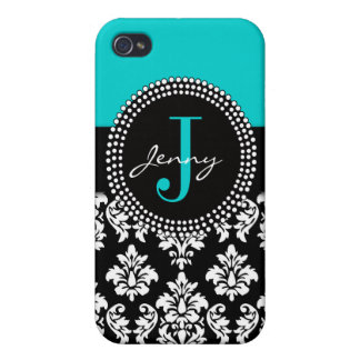 Personalized Aqua Blue Black Damask Pattern Covers For iPhone 4