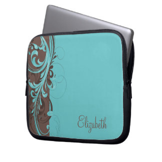 Personalized Aqua Blue Brown Floral Laptop Sleeve