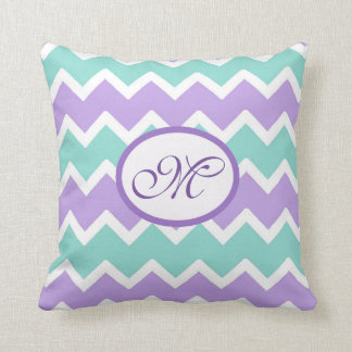 Personalized Aqua Blue Lilac Purple Chevron Pillow