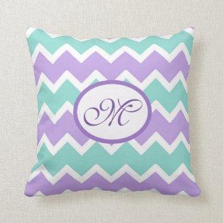 Personalized Aqua Blue Lilac Purple Chevron Pillow
