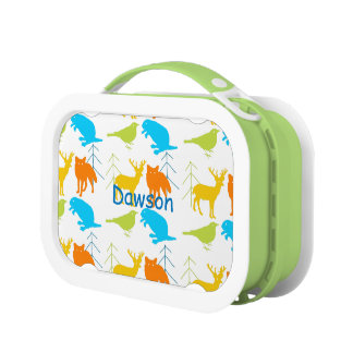 Personalized Aqua Blue Sneaky Fox Bicycle Lunch Boxes