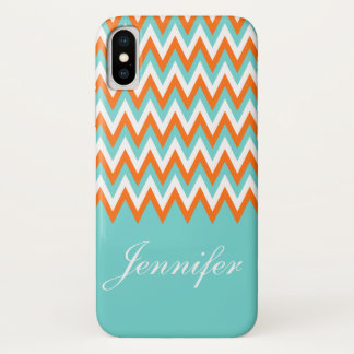 Personalized Aqua Blue White Orange Chevron iPhone X Case