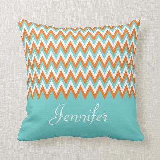 Personalized Aqua Blue White Orange Chevron Throw Pillow