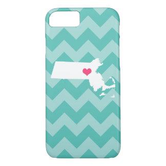 Personalized Aqua Chevron Massachusetts Heart iPhone 7 Case