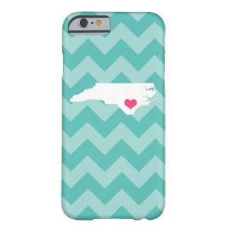 Personalized Aqua Chevron North Carolina Heart Barely There iPhone 6 Case