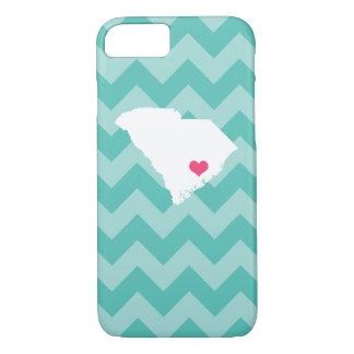 Personalized Aqua Chevron South Carolina Heart iPhone 8/7 Case