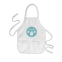 Personalized aqua cup cake baking apron for kids