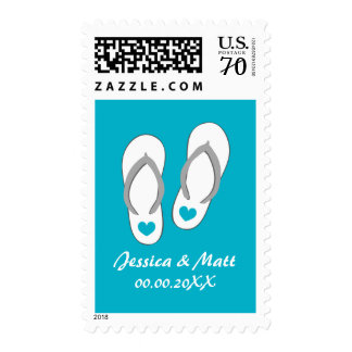 Personalized aqua flipflops beach wedding stamps