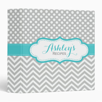 Personalized Aqua Gray Chevron Polka Dots Recipe Binder