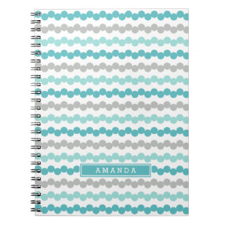 Personalized Aqua Gray Mint Dots Stripes Notebook