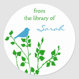 Personalized Aqua Green Bird Book Library Classic Round Sticker