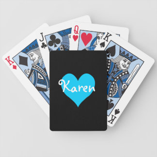 Personalized Aqua Heart Bicycle Playing Cards