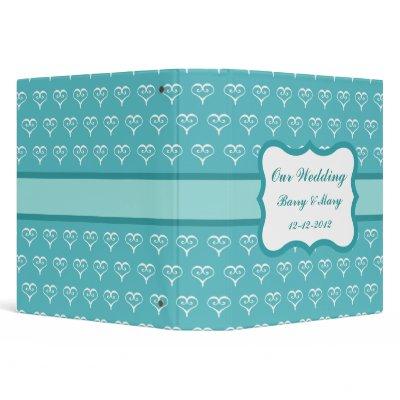 Personalized Aqua Hearts Wedding Scrapbook by suncookiez