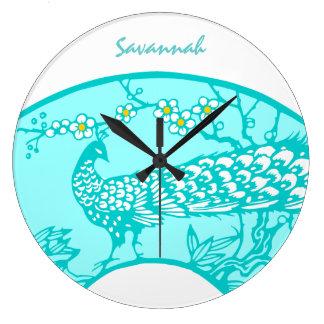 Personalized Aqua Peacock Bird  Wall Clock