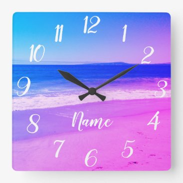 Beach Themed Personalized Aqua Pink Ombre Beach Scene Square Wall Clock