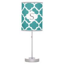 personalized aqua quatrefoil custom monogram desk lamp