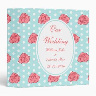 Personalized Aqua Rose Wedding Scrapbook Binder