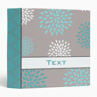 Personalized Aqua Teal Gray Floral Binder