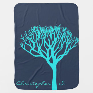 Personalized Aqua Tree Silhouette Receiving Blanket