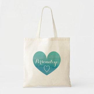 Personalized aqua water color heart tote bag