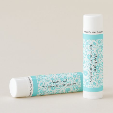 Personalized aqua whimsical daisy print lip balm