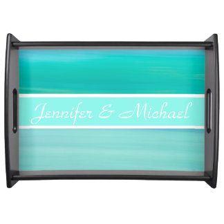 Personalized aquamarine green and blue calm ocean serving tray