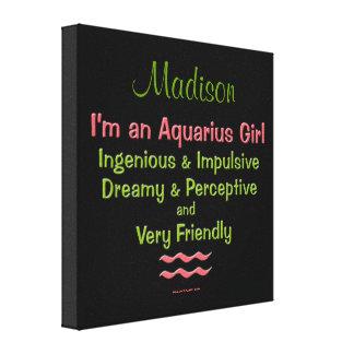 Personalized Aquarius Girls Canvas Wrap Canvas Print
