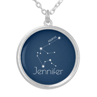 Personalized Aquarius Zodiac Constellation Silver Plated Necklace