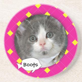 Personalized Argyle Cat Photo Beverage Coasters