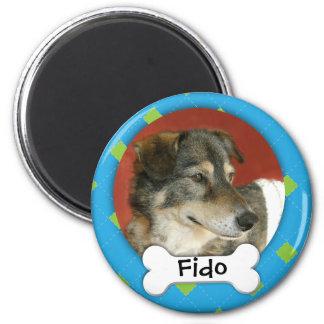 Personalized Argyle Dog Photo 2 Inch Round Magnet