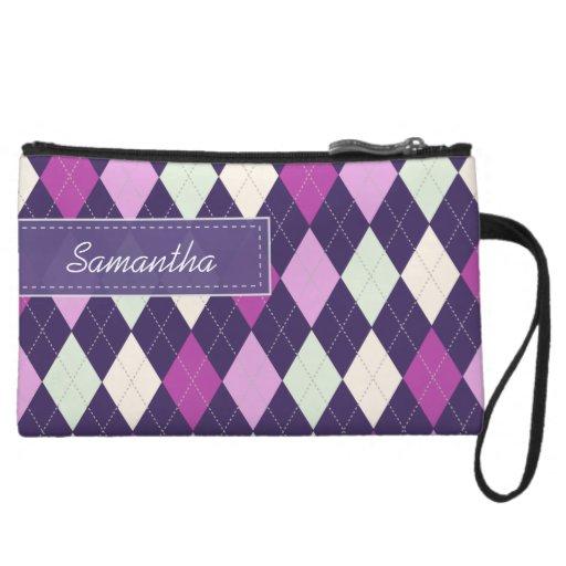Personalized ARGYLE PATTERN Bagettes Bag (plum) Wristlet Clutches