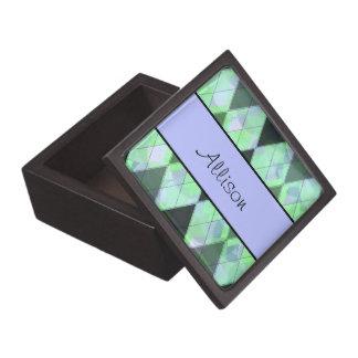 Personalized Argyle Pattern Jewelry Box Premium Trinket Boxes