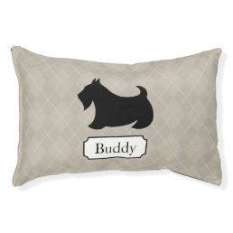 Personalized Argyle Scottish Terrier Dog Bed