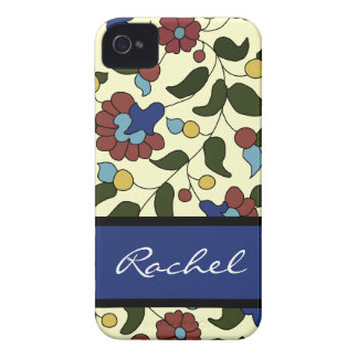 Personalized Armenian flowers - Blue & Cream iPhone 4 Case-Mate Case