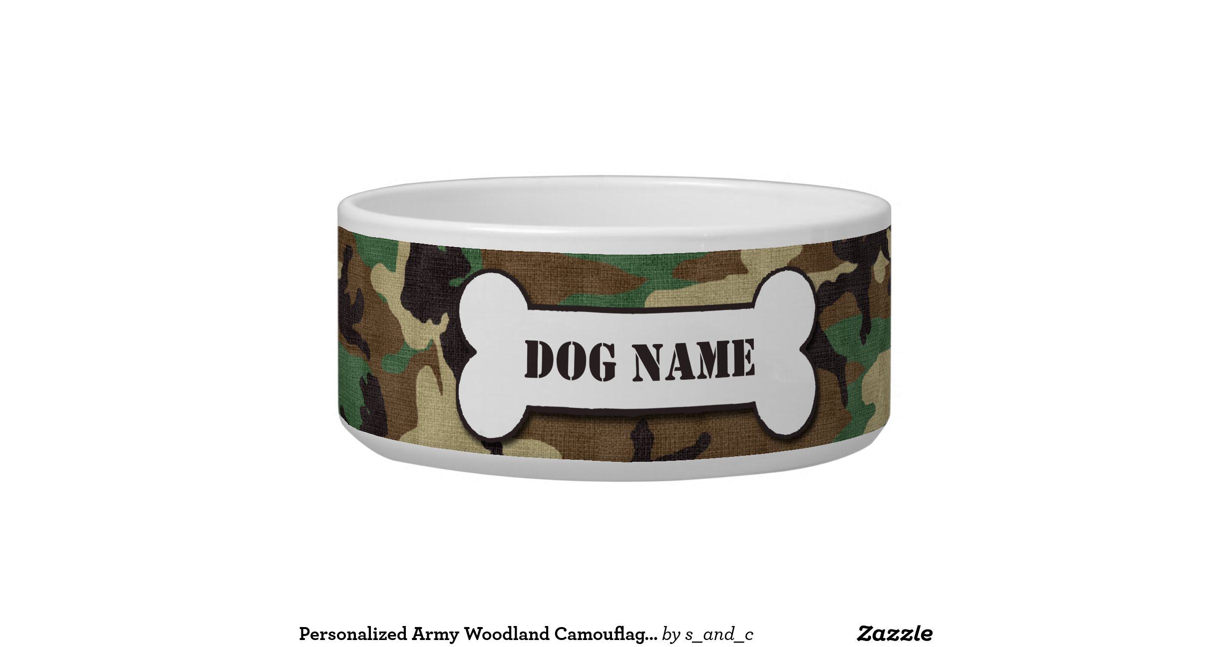 Personalized Army Woodland Camouflage Dog Bowl