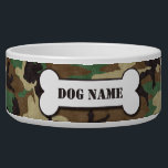 "Personalized Army Woodland Camouflage Dog Bowl<br><div class=""desc"">Pamper you dog with this unique Personalized Army Woodland Camouflage Dog Bowl. This unique ceramic dog bowl will look great when personalized with your pet&#39;s name.</div>"