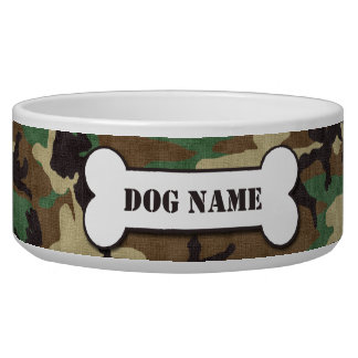 Personalized Army Woodland Camouflage Dog Bowl