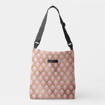 Personalized Art Deco Floral Fan Pattern Pink Gold Crossbody Bag