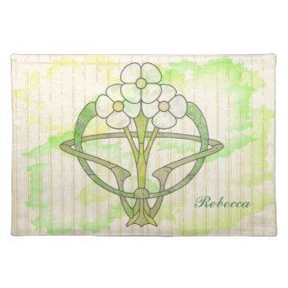 Personalized art deco floral watercolor wash placemat