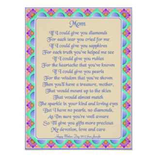 Personalized Art Deco Mother's Poem Print