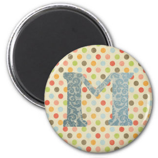 Personalized Art Letter M 2 Inch Round Magnet