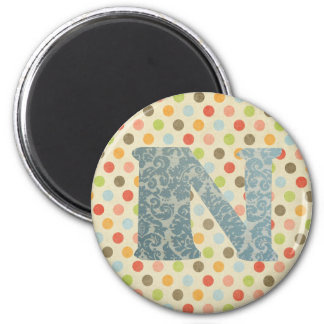 Personalized Art Letter N 2 Inch Round Magnet