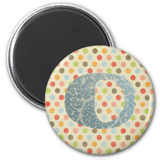 Personalized Art Letter O 2 Inch Round Magnet