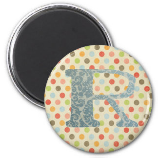 Personalized Art Letter R 2 Inch Round Magnet