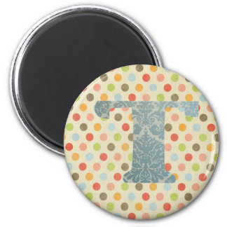 Personalized Art Letter T 2 Inch Round Magnet