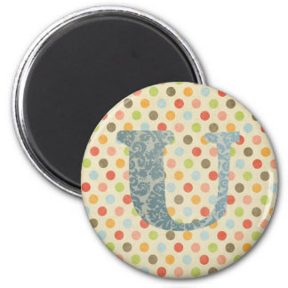 Personalized Art Letter U 2 Inch Round Magnet