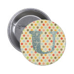 Personalized Art Letter U Pinback Buttons