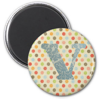 Personalized Art Letter V 2 Inch Round Magnet